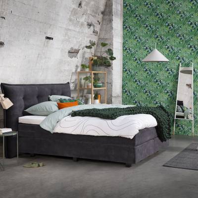 Boxspring Forte 4000 met hoofdbord Tempo in stof Adore 67 Anthracite