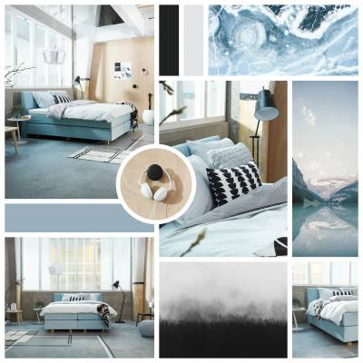 Moodboard Scandinavisch met boxspring Forte 4000 met Hoofdbord Allegretto in stof Board 41 Lightblue