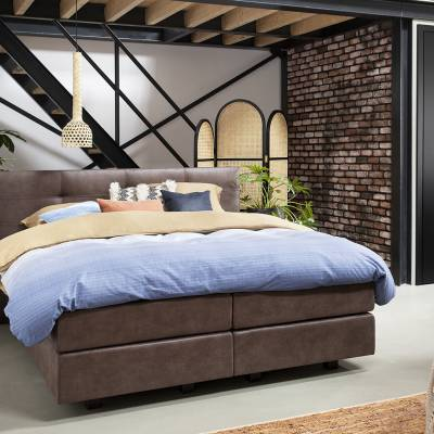 Boxspring Forte 4000 met hoofdbord Animato in stof Relax 15 Brown